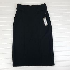 Eva Mendes Pencil Skirt Size 4 Pleated Black A0301